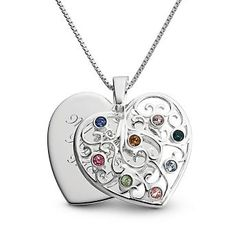 Personalized Sterling Silver Birthstone Family Heart Necklaces With Free Keepsake Box | Things Remembered
