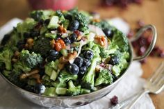 Broccoli Salad with Blueberries and Honey-Toasted Walnuts. It's like a dream. You know those dreams you had when you were a kid about showing up to grade school in your underwear? And no matt…