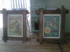 Frames from old fence boards. Pallet Crafts, Frame Crafts, Wooden Crafts, Old Fence Boards, Art Boards, Old Fences, Fence Panels, Refurbished Furniture, Rustic Signs