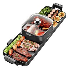 Electric grill single pot multi function household hot pot can be separated dual use baking pan fried meat barbecue machine Cool Kitchen Gadgets, Cool Kitchens, Barbecue Machine, Casseroles, Electric Bbq Grill, Searing Meat, Teppanyaki, New Cooking, Cooking Tools