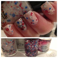 4th of July 2014 Mani / Jindie Pendence and Jindie Pendence Glitter Topper over Silver