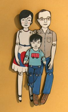 These custom paper dolls are awesome. PS, This is basically us.