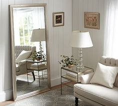 Champagne Gilt Floor Mirror #potterybarn--have you thought about using a floor mirror in the bedroom on the hall wall? This one is too expensive but we can find one that would bounce the light around the room and give you a place to see yourself before going off to work.