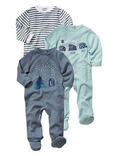 21€  Lote de 3 pijamas de algodón variados bebé niño AZUL CLARO LISO
