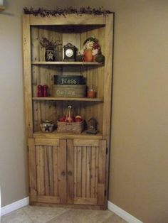 Make a corner useful! Rustic Country Wood Pine Corner Cupboard Do It Yourself Home Projects Furniture Plans from Ana White Corner Hutch, Corner Cupboard, Corner Bar, Corner Cabinets, Kitchen Corner, Corner Cabinet Living Room, Diy Corner Shelf, Room Corner, Do It Yourself Furniture