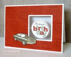 "I love the contrast on this card the interactive component. I also like the soft stamping of the ""Happy Birthday"" stamp as a background piece. This card can be done in whatever colour suits your recipient."