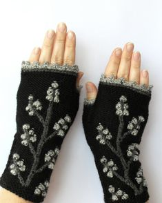 READY TO SHIP, Knitted Fingerless Gloves, Black, Trees, Clothing And Accessories, Accessories, Gloves & Mittens,Gift Ideas, For Her,Winter