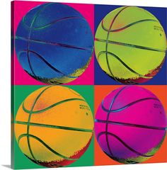 Great Big Canvas 'Ball Four-Basketball' Graphic Art Print Size: H x W x D, Format: White Framed Andy Warhol Pop Art, Kids Canvas, Canvas Wall Art, Wall Art Prints, Canvas Paintings, Framed Prints, Canvas Prints, Pop Art For Kids, Pop Art Images