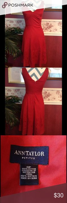 Ann Taylor Red Dress Classic little red dress from Ann Taylor Petites. In real life, color is a darker true red (comes across slightly orange in the photos). A-line cut. Zips up the back. Fully lined. Size: 0P. Length: 28.5 inches. Underarm to underarm: 15 inches. Materials: shell is 100% cotton, lining is 100% acetate. Ann Taylor Dresses