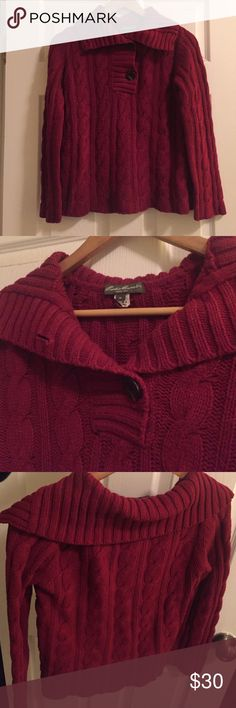 Eddie Bauer   Merino Wool Sweater Gorgeous red wine color, perfect for the holidays! Merino wool blend and cable knit keeps you warm and cozy. Adorable sailer style collar and oversized button closure. Gently used, in great condition! Eddie Bauer Sweaters Cowl & Turtlenecks