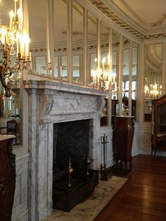 Marble fireplace & differing marble hearth The Polohouse