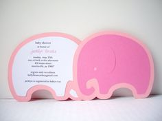 Baby Elephant Invitation Pack of 10 by bellybeancards on Etsy Little Girl Birthday, First Birthday Parties, 5th Birthday, Birthday Party Themes, First Birthdays, Elephant Birthday, 10 Envelope, Pink Elephant, Future Baby
