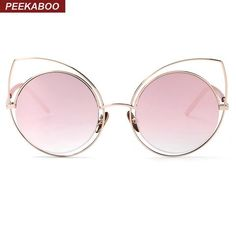 85296a3848 Sexy rose gold cat eye sunglasses women mirror 2016 high quality sunglasses  women luxury brand metal