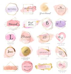 Logo watercolor background r weddingluxury logobannerbadgeprintingproductctor illustration Watercolor Logo, Watercolor Background, Flower Watercolor, Background Banner, Baking Logo Design, Bakery Logo, Boutique Logo, Luxury Logo, Premium Logo