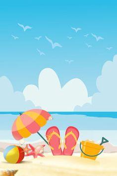 Summer Seaside Graduation Trip Little Bird Background Yellow, Blue Sky Background, Background Images, Seaside Beach, Blue Beach, Beach Images, Beach Photos, Summer Backgrounds, Colorful Backgrounds