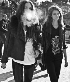 #FrejaBehaErichsen + 1 hidden behind a puff of smoke. #offduty just being insanely freakin cool yo.