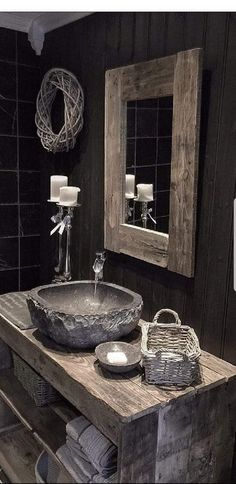 13 Tips to Make Your Bathroom Sparkle . Cabin Bathrooms, Dark Bathrooms, Rustic Bathrooms, Dream Bathrooms, Bathroom Sink Units, Bathroom Goals, Rustic Bathroom Designs, Modern Bathroom Design, Cabin Interiors
