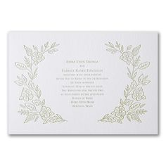 Refined Floral - Invitation. Available to order at Persnickety Invitation Studio.