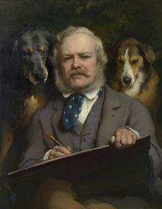 Sir Edwin Landseer (1803-73) The Connoisseurs: Portrait of the Artist with two Dogs before Jun 1865 Oil on canvas | RCIN 403220