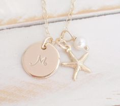 Gold Initial Starfish Necklace Gold filled Personalized Pendant White Pearl Beach Wedding Bridesmaid Custom Sea Charm Jewelry by GemPassionJewelry Initial Disc Necklace, Monogram Necklace, Personalized Necklace, Necklace Set, Gold Necklace, Small Gold Hoops, Small Gold Hoop Earrings, Starfish Necklace, Wedding Gifts For Bridesmaids