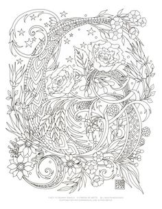 Starry Swirls - a digital downloadable coloring page by Cynthia Emerlye.  Available on Etsy  $2
