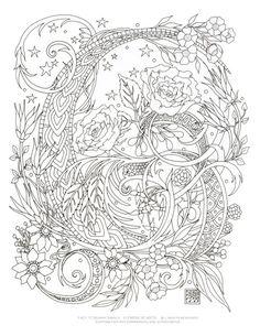 Página imprimible para colorear - remolinos estrellados