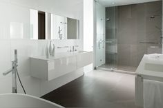 Magnificent White Gloss Porcelain Freestanding Sink Under Square Wall Mount Mirror As Well As Frameless Sliding Glass Shower Door In Contemporary Gray Bathroom Ideas