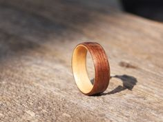 Walnut on Maple Bentwood Ring by BojtStudio on Etsy, $80.00