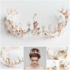 Items similar to Lavender Tanzanite Floral Crystal Bridal Headband - Gold Bridal Flower Crown - Sparkling Gold Wedding Crystal Head Piece on Etsy Bridal Crown, Bridal Tiara, Headpiece Wedding, Wedding Accessories, Hair Accessories, Circlet, Tiaras And Crowns, Ring Verlobung, Bridal Flowers