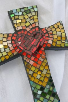 Medium Mosaic Cross with Heart in Center  by DeniseMosaics on Etsy, $30.00