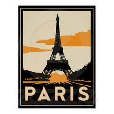 paris art deco retro poster