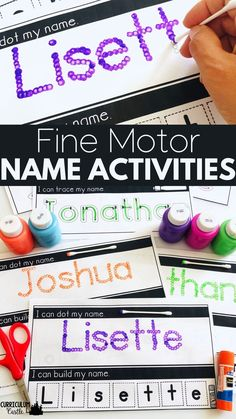 Name activities: Children practice their name in a variety of ways to help build fine motor skills. Name practice and name recognition for kindergarten and preschool. Preschool Name Recognition, Name Activities Preschool, Name Writing Activities, Kindergarten Names, Name Writing Practice, Beginning Of Kindergarten, Preschool Writing, Pre K Activities, Motor Skills Activities