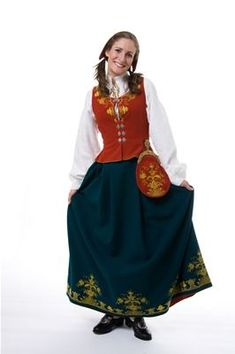 "Norwegian ""bunad"" from Romerike Folk Costume, Costumes, Going Out Of Business, Norway, Kids Outfits, Textiles, Female, Skirts, How To Wear"
