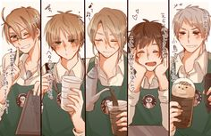 Hetalia - America, England, France, Spain, and Prussia (also Capucino) Hetalia France, Hetalia England, Hetalia America, Hetalia Funny, Hetalia Fanart, Hetalia Anime, Hetalia The Beautiful World, Latin Hetalia, Germany And Prussia