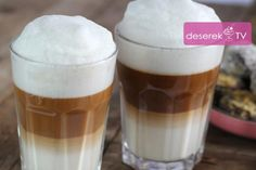 Kawa Latte Macchiato przepis Latte Macchiato, Pudding, Drinks, Food, Drinking, Beverages, Custard Pudding, Essen, Puddings