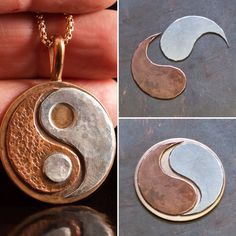 Bronze, copper and sterling silver mens or womens rustic yin yang pendant