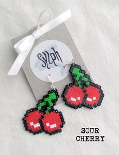 Lushious 8bit pixelated Sour Cherry dangle earrings made out of Hama Mini Perler beads in oldschool retrogames style by SylphDesigns on Etsy