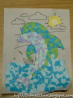 Mosaic Pictures - Start with a coloring page as basic as needed for students..cut tissue paper squares & glue to the outlined page