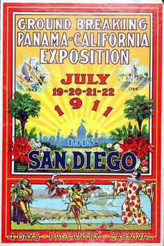 1911 poster announcing the groundbreaking for the 1915 World's Fair in San Diego