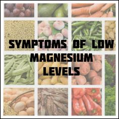 Symptoms of low magnesium levels  Calcium deficiency Poor heart health Weakness Muscle cramps Tremors Nausea Anxiety High blood pressure Type II diabetes Respiratory issues Dizziness Fatigue Potassium deficiency Difficulty swallowing Poor memory Confusion
