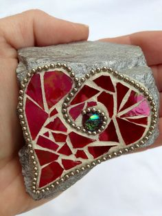 Irredescent Red Stained Glass Mosaic Heart by MAKink on Etsy, $17.00