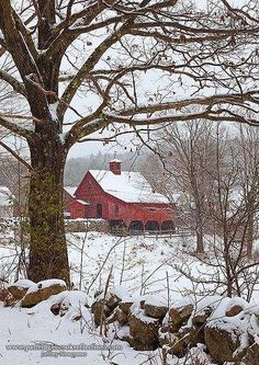 Red Barn winter, Keene, New Hampshire: always told him how I wanted to see where he lived Farm Barn, Old Farm, Barn Pictures, Country Barns, Country Life, Country Living, Country Roads, Winter Scenery, Country Scenes