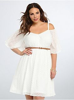 Brush your shoulders off, no one's gonna look as good as you in this flit and float white dress. Chiffon gets a textured touch with chevron print embroidery. Off shoulder cutouts add volume to the gathered waistline and waist-cinching faux leather belt. Dress P, Skater Dress, Bodycon Dress, Plus Size Mini Dresses, Plus Size Outfits, Fit N Flare Dress, Fit And Flare, Latest Dress, Ruffle Trim