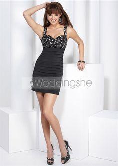 Modest Column/Sheath Straps Mini Little Black Cocktail Homecoming Dress(Free Shipping)