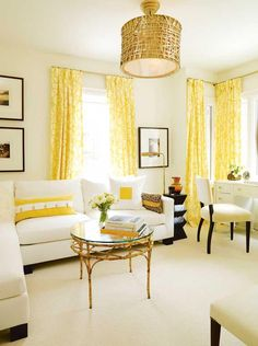 LOVE THE YELLOW CURTAINS! Sarah Richardson design - very pretty yellow curtains. A great neutral design that can be easily changed. House Design, Home Living Room, Home, Sarah Richardson Design, House Interior, Yellow Curtains, Home Interior Design, Interior Design, Home And Living