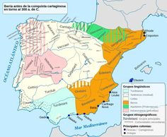Main language areas in Iberia (today known as Spain), showing Celtic languages in beige, c. Spain History, European History, Ancient History, European People, Ancient Rome, History Of Wine, World History, Alphabet Latin, Homo Heidelbergensis