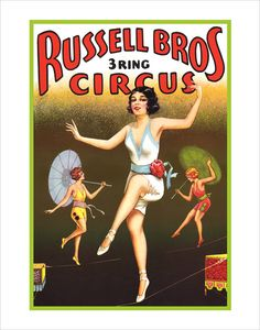 Circus Poster Tightrope Walkers 11x14 Circus by aswegoArts, via Etsy.