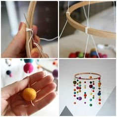 14 mobile DIY ideas for the great happiness of baby , Decoration Creche, Diy Bebe, Ideias Diy, Crafty Craft, Baby Decor, Little Gifts, Diy For Kids, Diy And Crafts, Diy Projects
