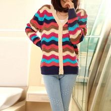 Lovely Colorful Striped Hollow Women's Slim Cardigan Sweater Girl's Single-breasted Long-sleeved Sweater