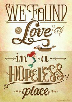 We Found Love (Calvin Harris) Little Mermaid, Disney Lyrics Poster, Music Art Print, Pop Song Illust Disney Love, Disney Magic, Disney Art, Disney Stuff, Walt Disney, Disney Pixar, Disney High, Ariel Disney, Calvin Harris